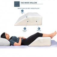 The White Willow Orthopedic Medical Grade Foam Bed Wedge Elevated Leg Rest Pillow for Improved Blood Circulation, Acid Reflux,Back, Leg, Sciatica Pain Relief,Post Surgery, White 8 x 20 x 24