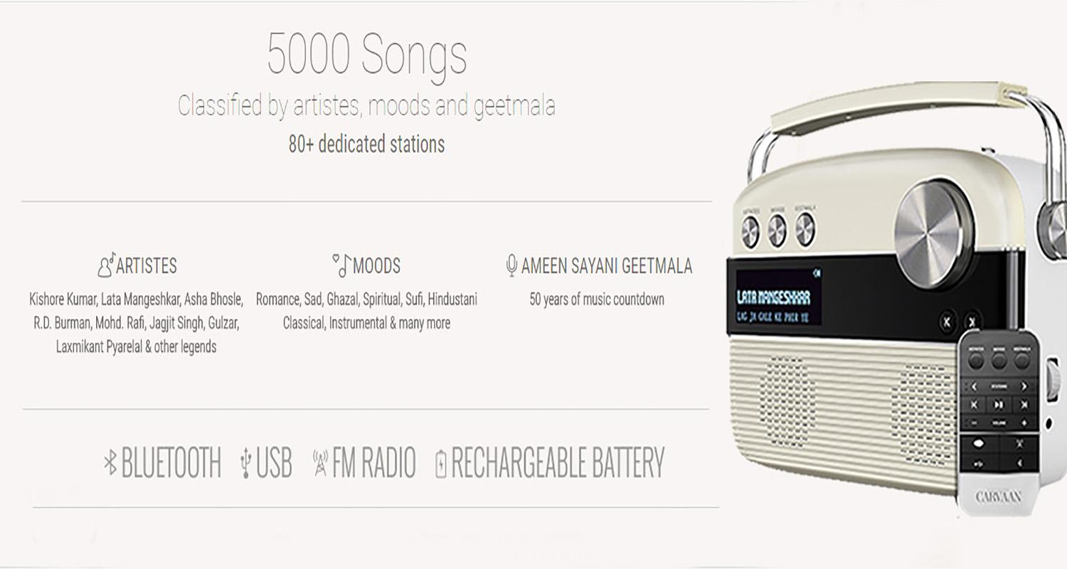 Saregama Carvaan Cherrywood Digital Music Player|Meddey
