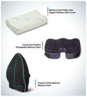 Premium Backrest and Memory Foam Pillow with Coccyx Seat Cushion - Combo Offer