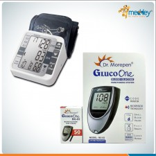 Dr Morepen BG03 Glucometer Machine with 50 Test Strips and Accusure Blood Pressure Monitor- Combo Offer