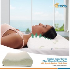Premium Contour Cervical Pillow Orthopedic Memory Foam with Organic Bamboo Fabric Cover - Grin Health Singapore