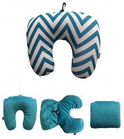 2 in 1 Microbeads Blue Travel neck Pillow