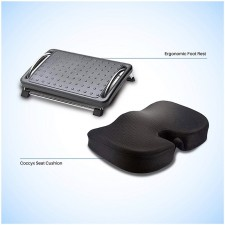 Coccyx Seat Cushion and Ergonomic Foot Rest - Combo