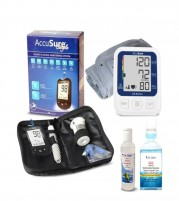 Accusure BP Machine Glucometer and Onyx Insulin Pouch Dr. Odin Sanitizer and Mouth Wash Combo for Diabetics