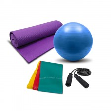 Home Fitness Kit with Premium Yoga Mat, Gym Ball, Skipping Rope and Combo of Therabands