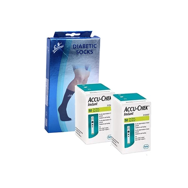 Accu Chek Instant S 100 Test Strips (2 packs of 50) with Flamingo Diabetes Socks