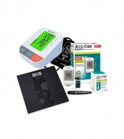 Accu Chek Instant S Glucometer with Dr. Odin BP Machine and Equinox Weighing Scale