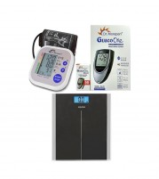 Dr Morepen Blood Pressure Monitor BP02 with BG03 Glucometer Machine with 50 Test strips and Equinox Digital Weighing Scale EB 9400 - Combo Offer