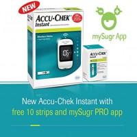New Accu-Chek Instant Glucometer Machine with 10 test strips FREE ( White )