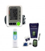 Dr Odin Glucometer with Automatic BP Monitor and Non Contact Thermometer
