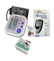 Dr Morepen Blood Pressure Monitor BP02 and Glucometer Machine BG03 with 50 Test strips and Dr.Brave Pulse Oximeter  - Combo Offer
