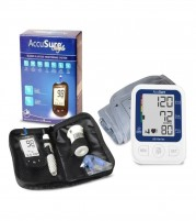 Accusure BP Machine Glucometer and Onyx Insulin Pouch Combo for Diabetics