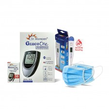 Dr Morepen BG03 Glucometer with 50 Test Strips and Digital Thermometer  and non-woven masks