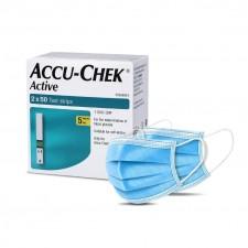 Accu Chek Active Strips 100 and non-woven masks