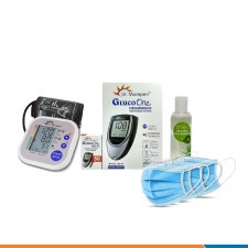 Dr Morepen Blood Pressure Monitor BP02 and Glucometer Machine BG03 with 50 Test strips Hand Sanitizer 100ml  Non-woven Mask - Combo Offer