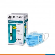 Accu chek active Strips 50 with Non-woven Mask Combo
