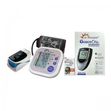 Dr Morepen Blood Pressure Monitor BP02 and Glucometer Machine BG03 with 50 Test strips and Digital Pulseoximeter - Combo Offer