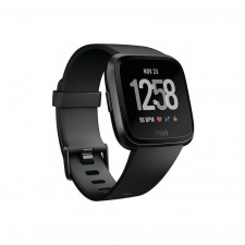 Fitbit Versa Health and Fitness Smartwatch - Space Black- Water resistant fitness companion unisex smart watch