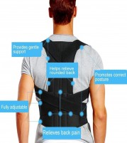 Posture Corrector with dual spinal column support for Neck Shoulders and Back Pain Relief